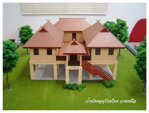 Thai house plans 3 bed 3 bath maids for Two story house styles