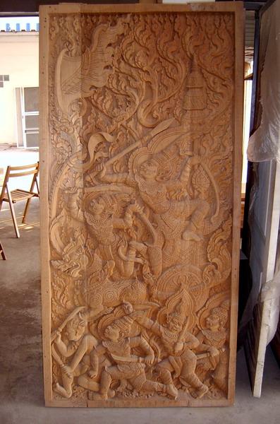 Thai Teak Wood Carved Doors And Ordinary Doors