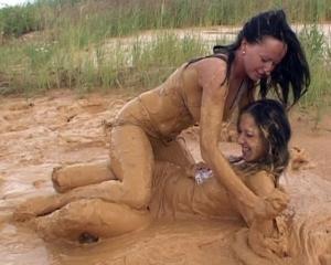 Lingerie mud wrestling
