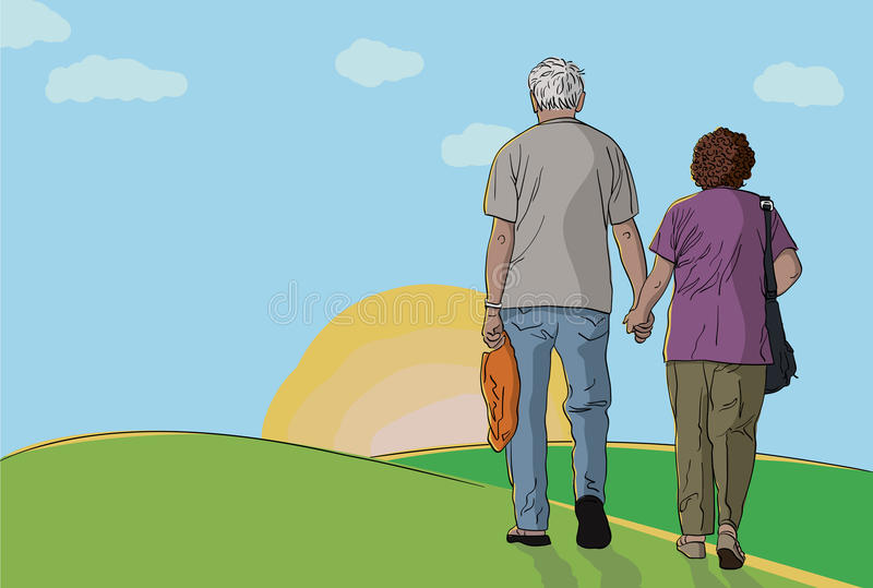 Exports Recovering?-elderly-couple-walking-together-hills-holding
