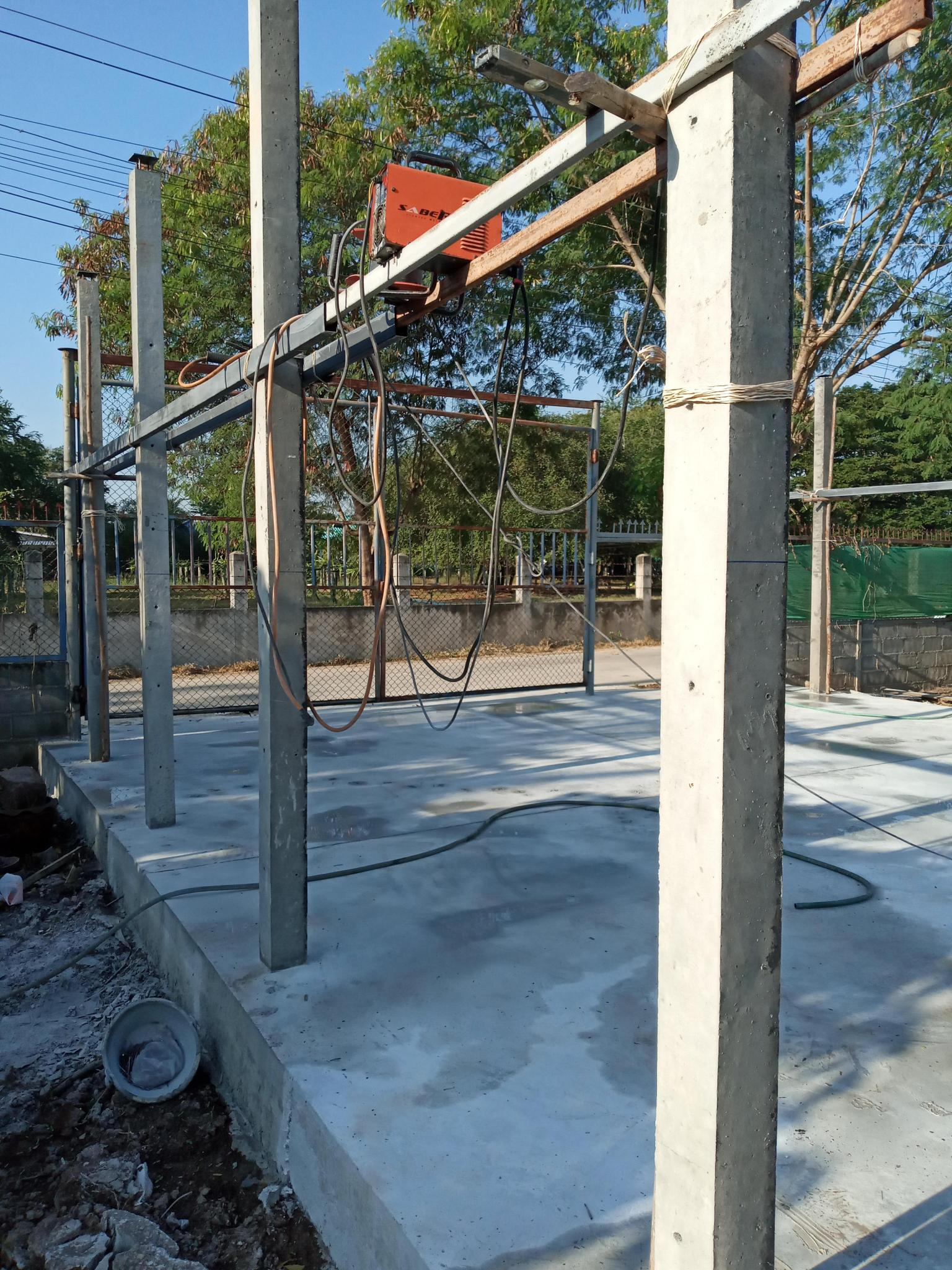 The Holiday Car Port Build with balls and cats-improvised-scaffolding-jpg