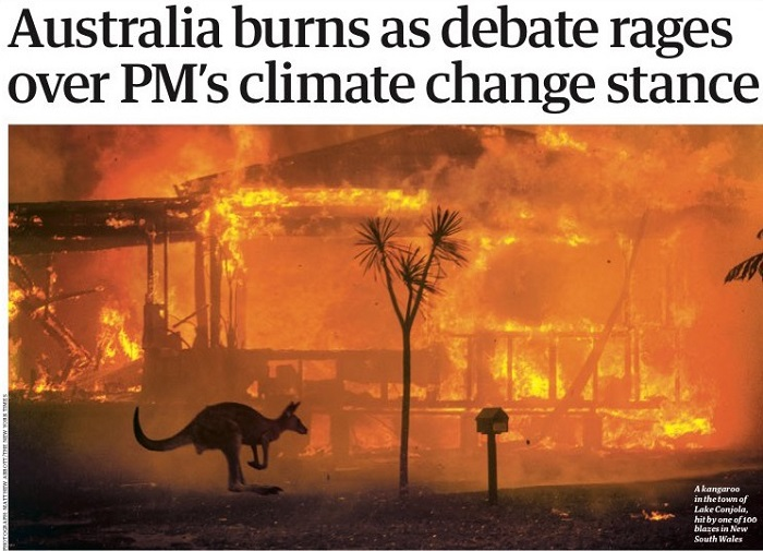 Australia bushfires leave three dead, at least 150 homes lost-front-page-guardian-uk-data-jpg