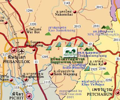 Phitsanulok Thailand Map.Sappraiwan Park Phitsanulok